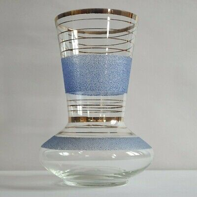 Vintage 1950s Glass Vase With Blue Textured And Gold Bands - Mid Century Modern • 15£