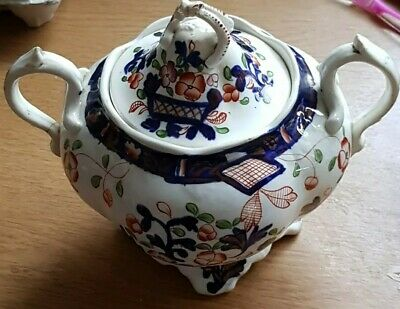 Antique Two Handled Soft Paste Porcelain Lidded Gaudy Welsh? Sucrier. • 9.99£