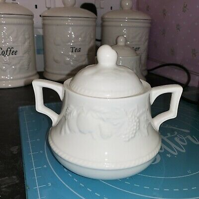 BHS LINCOLN Sugar Bowl With Lid - Cream Fruits British Home Stores • 4.99£