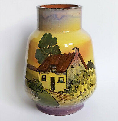 Unusual Antique Watcombe Torquay Purple Cottage/Country Scene Vase 245 • 17£