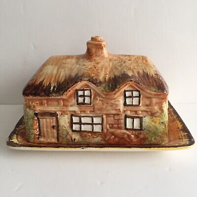 Vintage Butter / Cheese Dish Thatched Cottage Ware • 4£