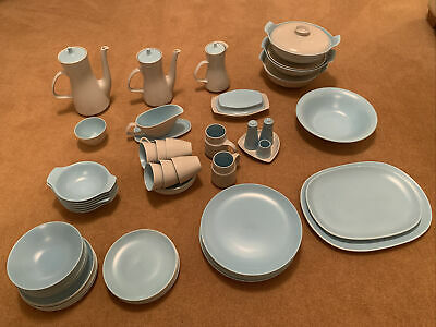Collection Of Poole Pottery Twintone Dove Grey And Sky Blue • 75£