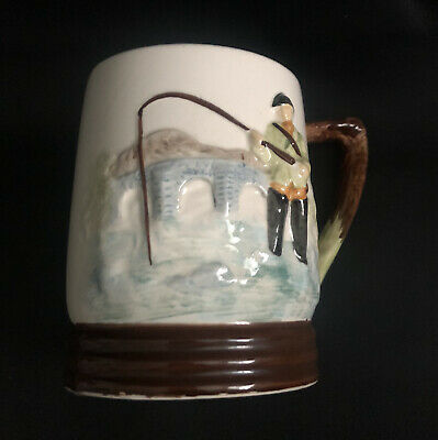 Collectable Vintage Fishing Mug/tankard, Keele St. Pottery England Handpainted  • 1.99£
