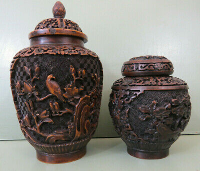Pair Of Chinese Brown Carved Cinnabar Lacquer Jars With Lids Floral Patterns • 45£