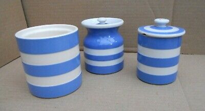 T G Green Cornishware Small Storage Jars X 3 • 10£