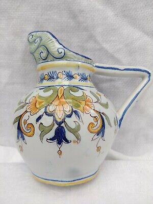 Antique French Rouen Faience Fourmaintraux ? C19th Quimper Moustiers Jug Signed • 20£