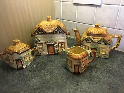 Keele St Pottery Cottage Ware Teapot Milk Jug Sugar/Jam Bowl & Biscuit Barrel • 25£