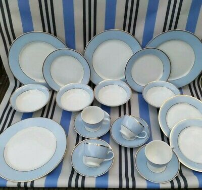 Bruce Oldfield For Royal Doulton 2004 20 Piece Dinner Set Vintage Blue Gold Trim • 55£