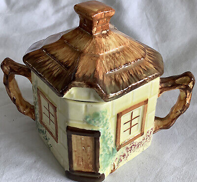 Keele St Pottery Co Ltd Cottage Ware Hand-Painted Sugar Bowl With Lid - ExCondtn • 5£