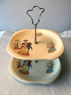 Vintage 1940-59 Beswick Pottery  HAPPY MORN  2 Tier Cake Stand / Plate • 15£