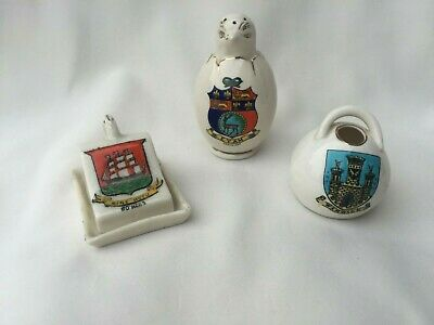 Crested China X3 Arcadian Hatching Chick EYAM - Goss Salt Pot Warwick & 1 Other • 2.50£