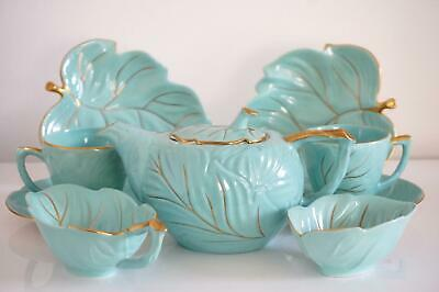Carlton Ware Tea Set - Leaf Design Gilt Highlighted - Aqua Ground - C.1950's • 175£
