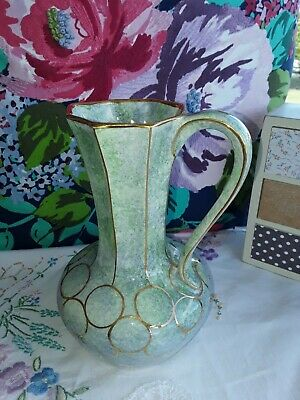 BEAUTIFUL Vintage Vase *Oldcourt*🌸Green & Gold..for Modern Or Old Style Home🌸 • 8.50£
