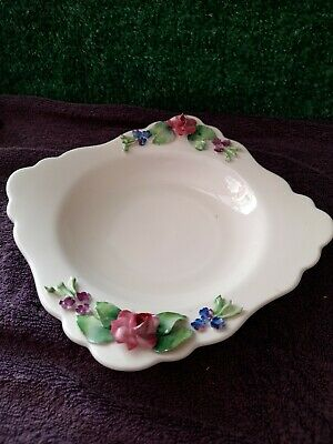 Vintage Attractive Crown Staffordshire Bonbon Dish - Yellow With Flowers • 10£
