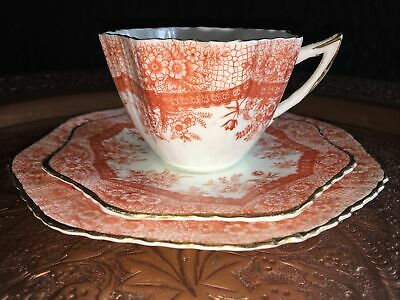 Antique Victorian China Tea Cup Saucer Plate Trio Ocre  Rd 168057/ Pattern 2787 • 45£