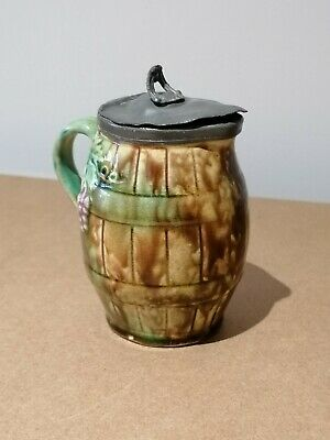 Small Antique (French ?) Pottery Jug With Pewter Lid - Potters Mark On Base • 5£