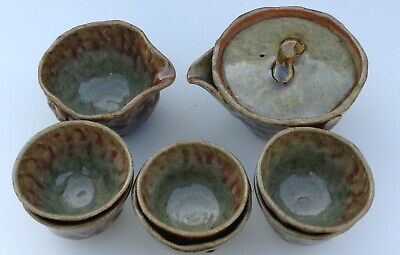 Japanese Sencha Tea Set Studio Pottey Signed Impressed Handmade New Wabi Sabi • 38£