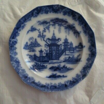 ANTIQUE FLOW BLUE IRONSTONE PLATE WHAMPOA PATTERN 1800's • 38.86£