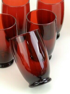 Set 8 Vintage Anchor Hocking Royal Ruby Red Baltic Footed 12oz Glasses Tumblers  • 42.72£