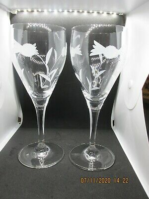 Pair Of Balmoral  Crystal Wine Glasses Flower Of Scotland Thistle Etchings • 10£
