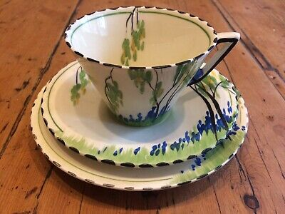 Burleigh Ware Art Deco Zenith Bluebell Trio - Cup, Saucer & Side Plate • 20£