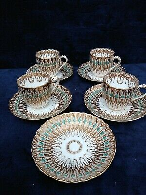 Antique English Porcelain Chocolate Cups Fluted Gilt Minton ? Regency C19th • 65£