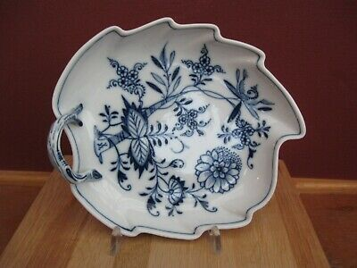 Meissen Blue Onion Pattern Leaf Pattern Dish With Handle Cabinet Condition • 8.70£
