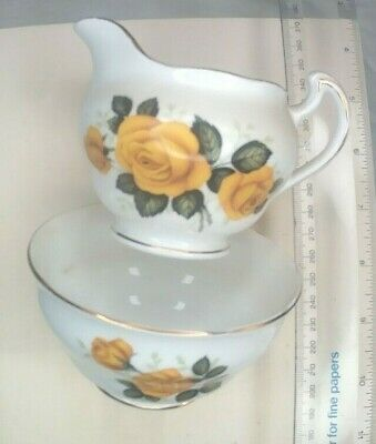 Vintage Royal Vale Yellow Rose Milk Jug & Sugar Bowl • 24.99£
