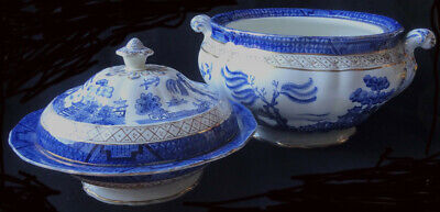 Booths REAL OLD WILLOW Soup Tureen + Muffin Dish 9072  • 29.99£