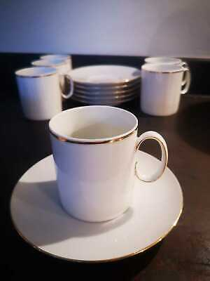 ☕ Thomas Germany White Set Of 6 Cups & Saucers Tea Coffee Thin Gold Band • 14.99£