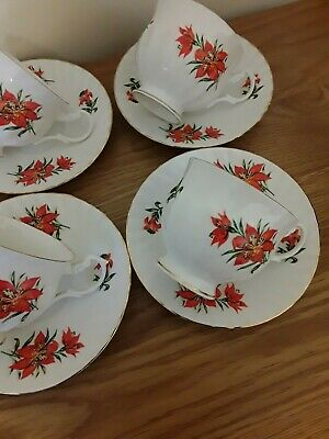 Rare Queens/rosina China 4 Cups & Saucers 'tiger Lily', Swirl, Floral Gold,  • 0.99£