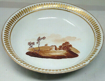 Early 19th Century Porcelain Hand Painted Dish House Amongst Trees Brown & Gilt • 9£
