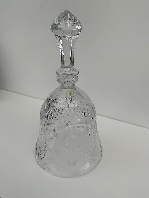 "Pressed Glass Pattern Bell With Ball Ringer 7"" Tall • 3£"