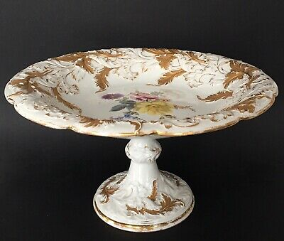 Antique Meissen Hand Painted Floral And Gilt Compote 12.25'' Crossed Swords • 336.30£