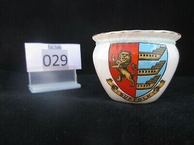Model Of Bagwear Cup Coloured W.H.GOSS Crested China, Crest Of SUFFOLK (029) • 5.50£