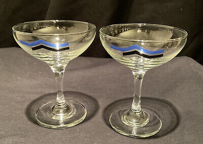 2 Champagne Coupe Saucer Glass French Bar Wine Party Boat Cup Bowl Art Deco Look • 22.50£