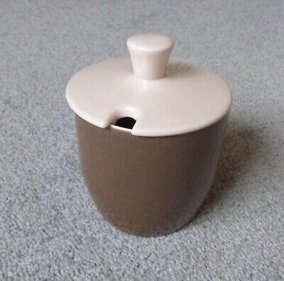 Vintage Branksome China Two-Tone Mushroom/Brown Jam,Preserve, Sugar Lidded Pot. • 15£