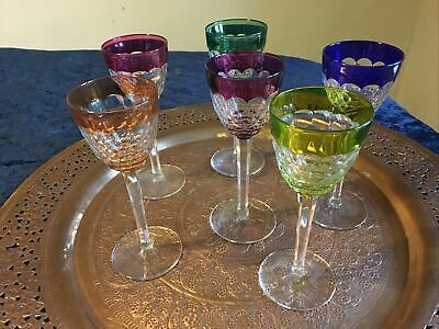 Baccarat Crystal Harlequin Flash Wine Glass 19.2 Cm High Set Of 6 Glasses • 600£