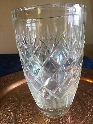 Large Vintage Heavy Lead Crystal Cut Vase 25cm Tall Doulton Webb Not Signed • 30£