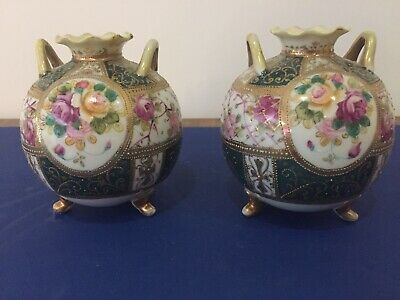 Pair Noritake 2 Handled Gilt Beaded Footed Vases • 48£