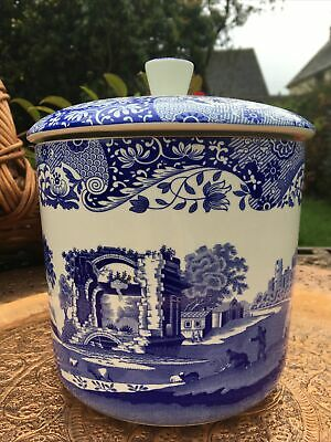 Spode Italian Blue Canister / Storage Jar / Biscuit Barrel With Lid  • 30£