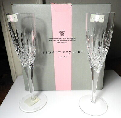 STUART Crystal MADISON Champagnes Flutes, Pair, Made In Ireland, New In Box • 73.32£