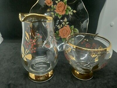 Vintage Glass Jug And Bowl And Dish Gold Trim Flowers Design • 5£