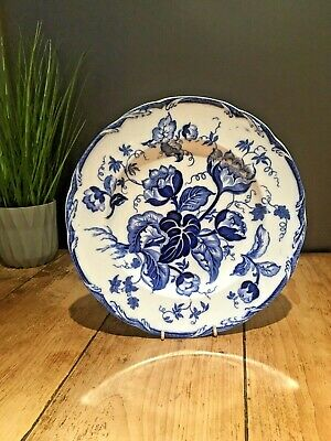 ANTIQUE C1860 WEDGWOOD WATER NYMPHS PATTERN BLUE & WHITE PEARLWARE CABINET PLATE • 65£