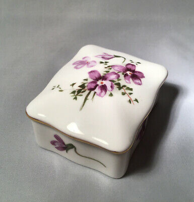 Hammersley Fine Bone China Victorian Violets Trinket Box • 3.50£