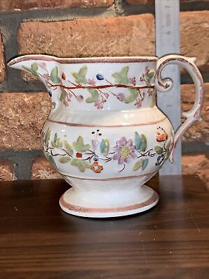 Antique Hand Painted Flowers Pearlware ? Pottery Jug  • 10£
