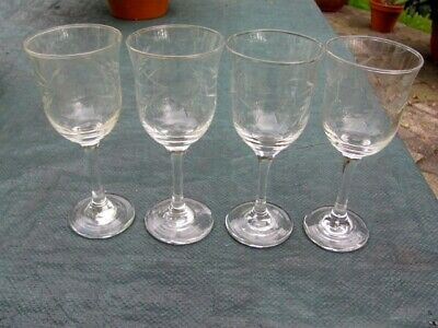 Set Of Four Wine Glasses Engraved With Fruit And Grain Motif • 6£