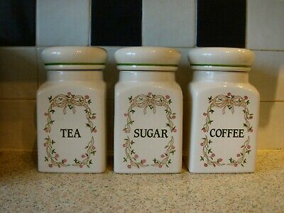 3 Eternal Beau Johnson Brothers Tea Cofee Sugar Storage Jars • 12£
