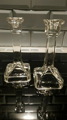 Vintage Pair Of Glass Candlesticks • 15£