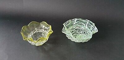 Pair Of Victorian Green Glass Marmalade Dishes Both With Applied Rigaree • 30£